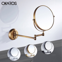 OKAROS 8 Inch Bath Mirror Dual Arm Extend 2 Face Round Copper Framed Make Up Mirror