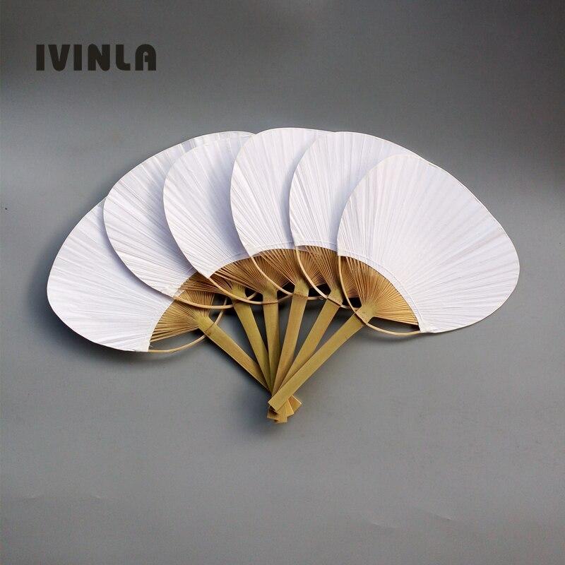 Hot selling 20pcs lot Free Shipping White Wedding Paddle Hand Fan