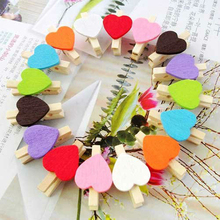 50Pcs Colored Mini Love Heart Wooden Clothes Pegs Office Supplies Craft Clips Cute Handicrafts Decorative Photos Papers