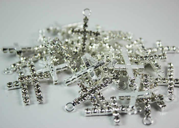 Hot New Cross Pendants 50pcs 15 26mm Silver Plated Clear Rhinestone Cross Charms Jewelry Finding For Earrings Bracelets Making in Pendants from Jewelry Accessories