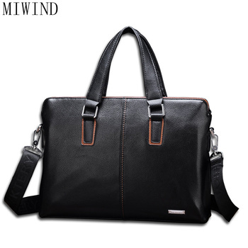 MIWIND  Men's Casual Shoulder Bags Male Business Briefcase PU Leather Messenger Computer Laptop Handbag Travel Bags  TSD975