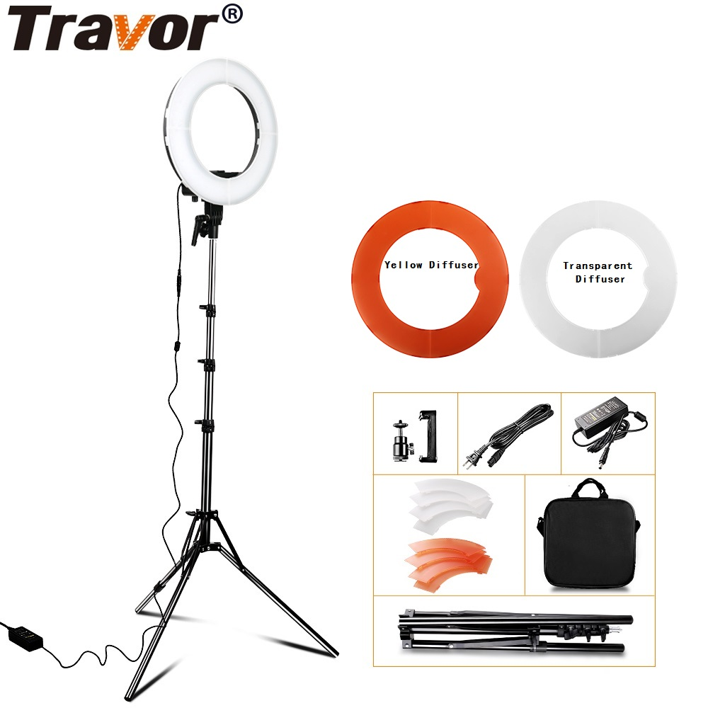 Travor Ring Light 12 Annular Make-up Lamp Dimmable LED Ring Light With Tripod For Camera Photo/Studio/Phone/Video/Photography fotopal 55w 5500k daylight led ring light lamp for photography camera phone video photo make up selfie light annular lamp