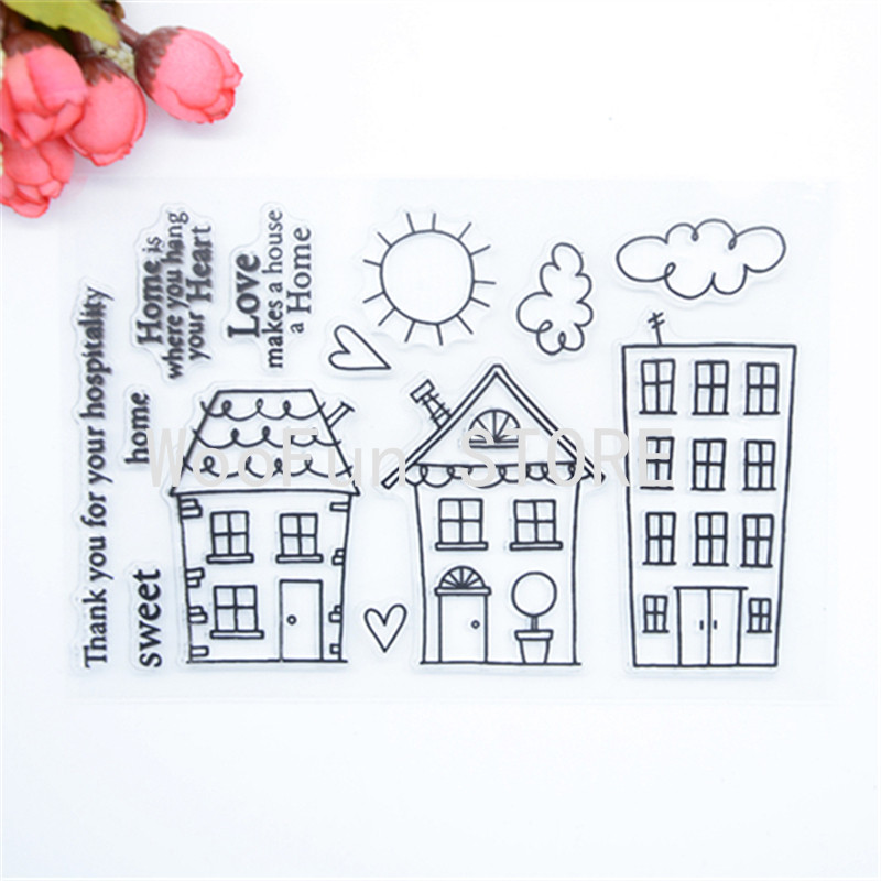 WYF881 Scrapbook DIY Photo Album Cards Transparent Silicone Rubber Clear Stamp 11x16cm Home is where you hang your heart letter phrase design scrapbook diy photo album paper cards silicone clear stamp transparent stamp for christmas gift tm 006