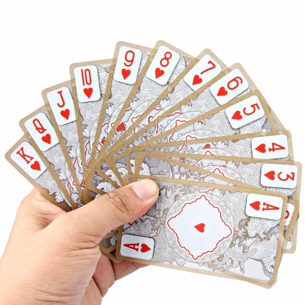 Étanche Transparent PVC Poker Or-plaqué Feuille D'or Cartes À Jouer En Plastique Dragon Totem Carte Magic Trick Nouveauté