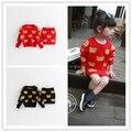 Детские девушки свитер топ с юбкой комплект одежды осень новый Корейский девушки медведь трикотажные хлопок бедра юбка 2 шт. костюм