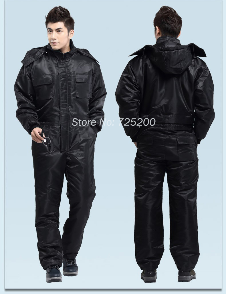 Winter Work Clothing Thicken Warm Windproof Rainproof Jumpsuit Car Washer Uniform Winter Fishing Work Clothes