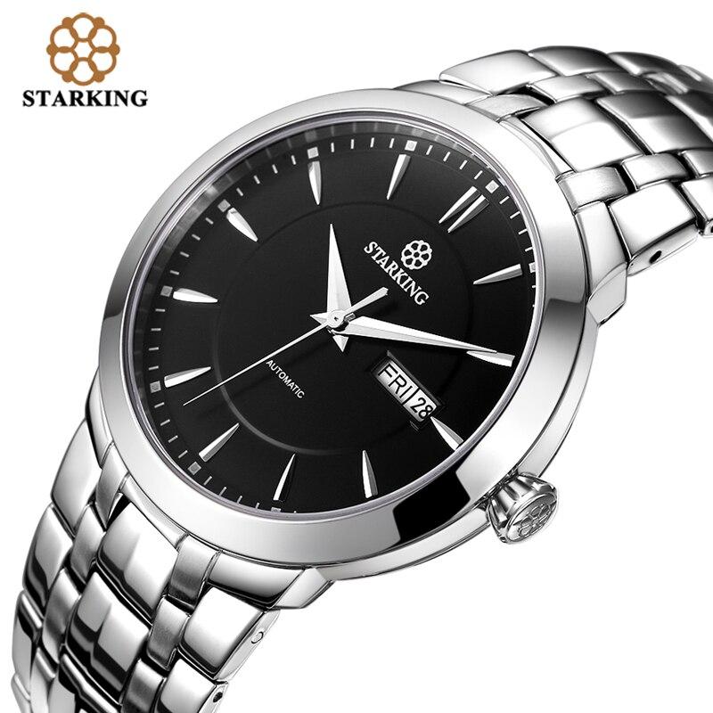 997a5b93cc9 StarKing Relógio Antigo de Luxo Cheio de Aço Inoxidável Automático Dos  Homens Relógio Calendário 5ATM Resistente Ao Choque Waterpoof relógio de  Pulso AM0161