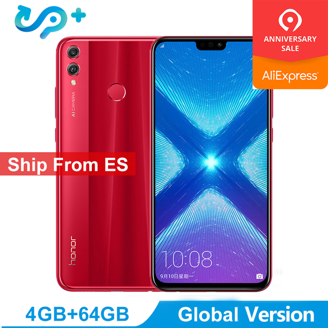 "Ship from ES Huawei Honor 8X LTE Mobile Phone Global Version 6.5"" FHD Kirin 710 Dual Back 20MP Camera 3750mah 3 Days Arrived"