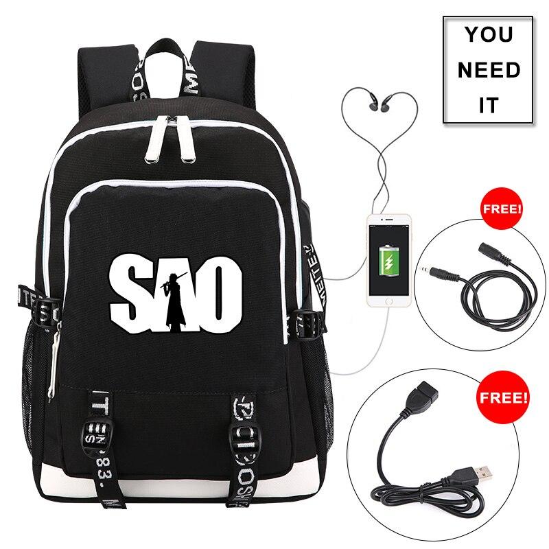 Sword Art Online SAO Printing Backpack USB Charging Laptop Backpack Anime Travel Backpack School Bags For Teenage Girls