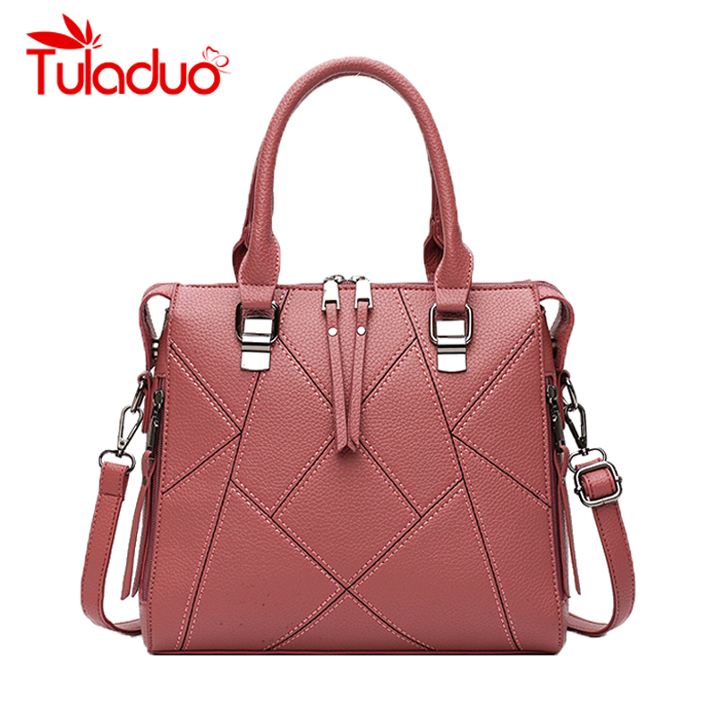 TuLaduo Brand 2018 New PU Leather Luxury Handbags Women Shoulder Bags Designer High Quality Ladies Caual Tote Handbag sac a main high quality pu leather sac a main women tote boston handbags luxury designer vintage ladies s shoulder bags crossbody doctor
