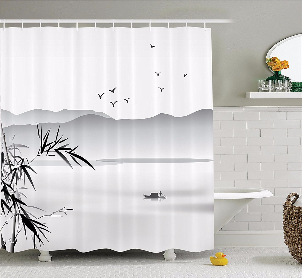 high quality arts shower curtains zen bamboo lakes and boats mountain birds bathroom decorative modern waterproof shower curtain