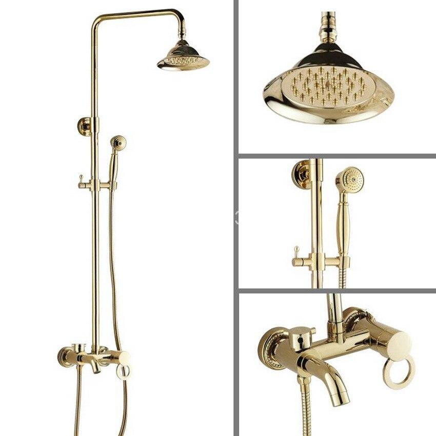 Polished Gold Color Brass Wall Mounted Bathroom Rainfall