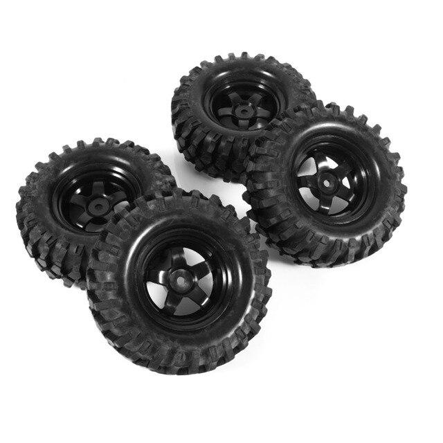 4 Pcs Black 1:10 Off Road RC Crawler Buggy RC Auto Rubber Banden & Velgen Slijtvastheid Vervanging Model accessoire