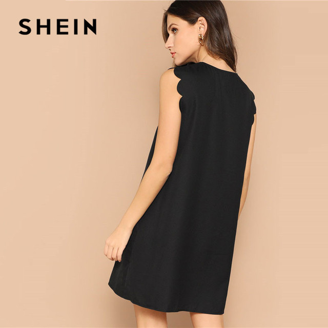 SHEIN Lady Solid V-Neck Scallop Trim Trapeze Mini Dress Women Clothes 2019 Casual Sleeveless Loose Tank Summer Dress 1