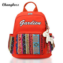 Этническая Вышивка рюкзак с милой кулон Школьные сумки для подростка Обувь для девочек Винтаж Для женщин путешествия рюкзак Mochila Escolar