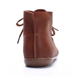 Image 4 - (35 46) נשים קרסול מגפיים בתוספת גודל בעבודת יד אמיתי עור אישה מגפי בוהן עגול תחרה עד נקבה הנעלה (5188 8)