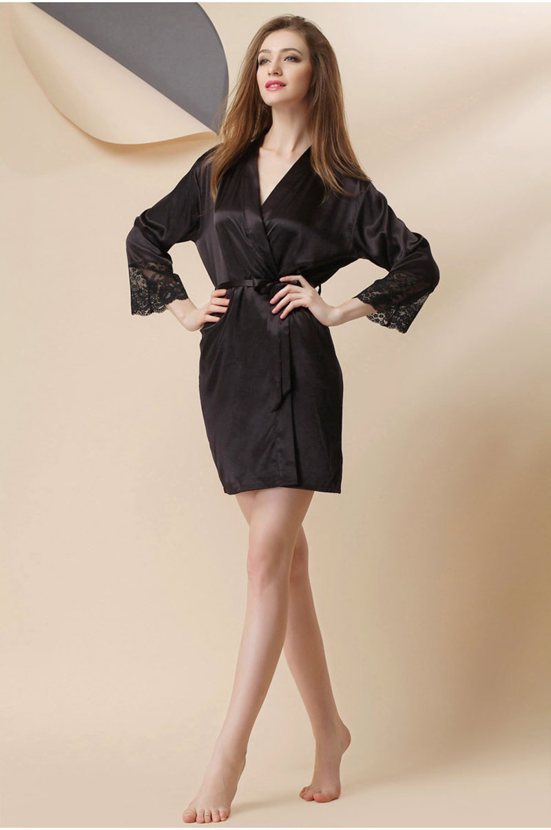 Sexy Large Size Sexy Satin Night Robe Lace Bathrobe Perfect Wedding Bride Bridesmaid Robes Dressing Gown For Women Hot Sale