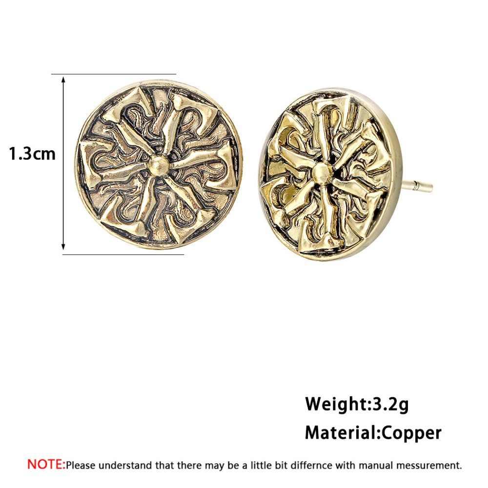 Античное серебро Viking Для мужчин серьги женский славянские амулет Винтаж человек панк ювелирные изделия Для женщин Nordic волк сережки-гвоздики, ухо подарок
