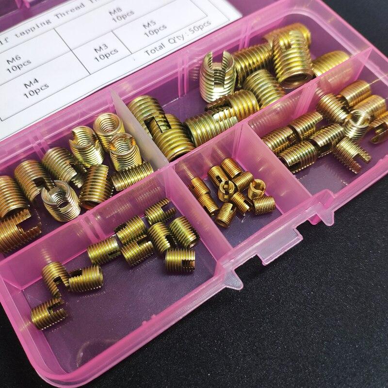 50Pcs/set M3 M4 M5 M6 M8 Corbon Steel Self Tapping Thread Slotted Inserts Set Thread Repair Tools Set Thread Inserts Kit