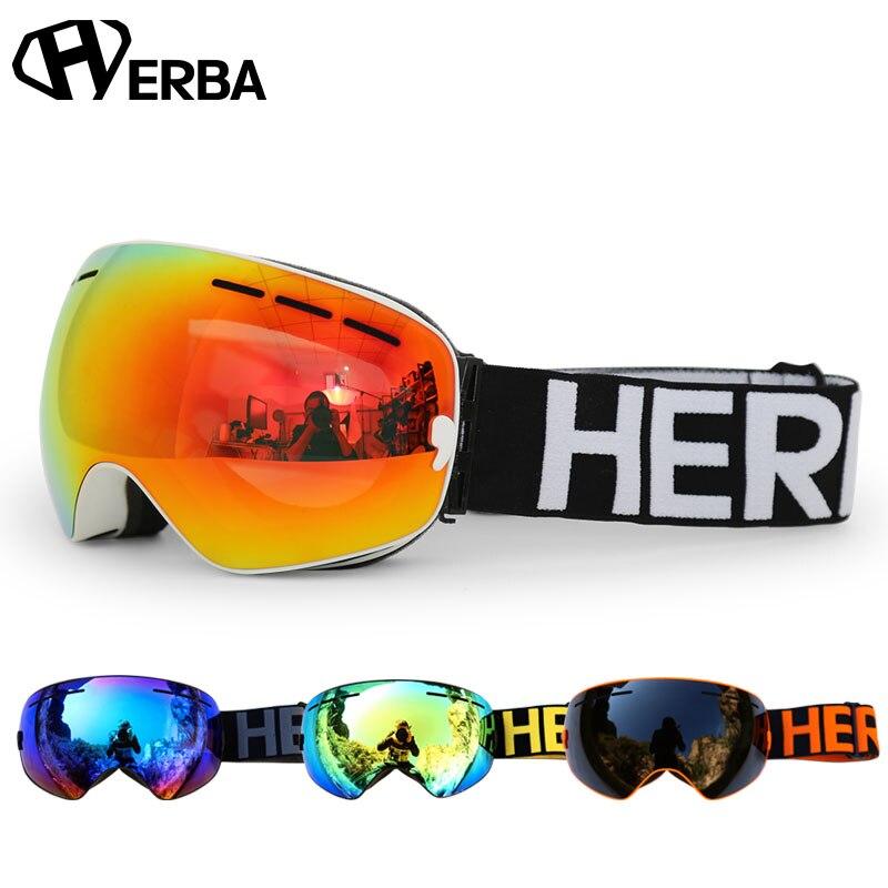 Nuovo HERBA marca occhiali da sci Doppia Lente UV400 Anti-fog Adulto Snowboard Sci Occhiali Donna Uomo occhiali Da Neve Occhiali