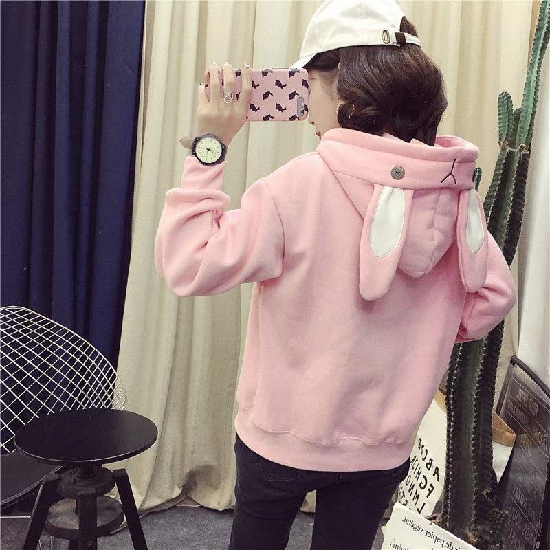 Women Sexy Hoodie Embroidery Print Cute Bunny Long Sleeve Hoody Female Loose Size Plush Treetwear Clothes 2019 Top Clothes