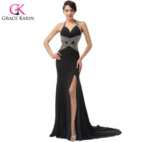 Glamorous Deep V Neck Slit Prom Maxi Gown Beaded Long Party Formal Dress Black Backless Evening