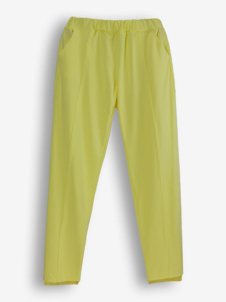 Survêtements Occasionnel Pantalon Aucun Yellow Costume Roulé Ensembles Taille 2018 Élastique 2 Coton Plein Nouveau Chandail Col Printemps Mode Jaune Réel rqCBA7w1Zr