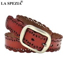 LA SPEZIA Women Pin Buckle Leather Belt Fashion Red For Jeans Real Cowhide Designer Korean Style Waist 105cm