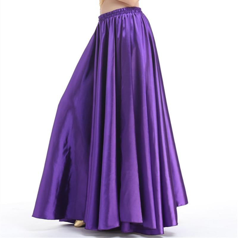 18 colors 2 sides slit Shining Satin Long Skirt Swing Skirt Belly Dance Costumes