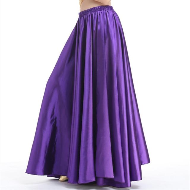bccf582273186f Goedkope 16 Kleuren Professionele Vrouwen Buikdansen Kleding Volledige  Cirkel Rokken Flamenco Rokken Plus Size Satijn Buikdans