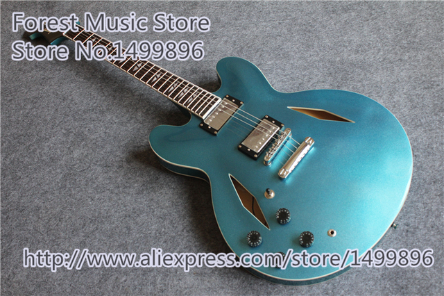 Cheap Matallic Blue Finish Dave Grohl ES 335 Electric Jazz Guitars Left Handed Hollow Guitar Body For Sale