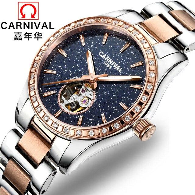 Montre femme 2018 CARNAVAL Mulheres Automáticas Do Relógio Turbilhão de Luxo Relógios Mecânicos Mulheres Diamantes Círculo Luminosa À Prova D' Água