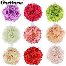 OurWarm 5Pcs 13cm Silk Rose Flower Ball Artificial Bouquet Kissing Ball Pomander for Home Party Wedding Centerpiece Decorations(China)