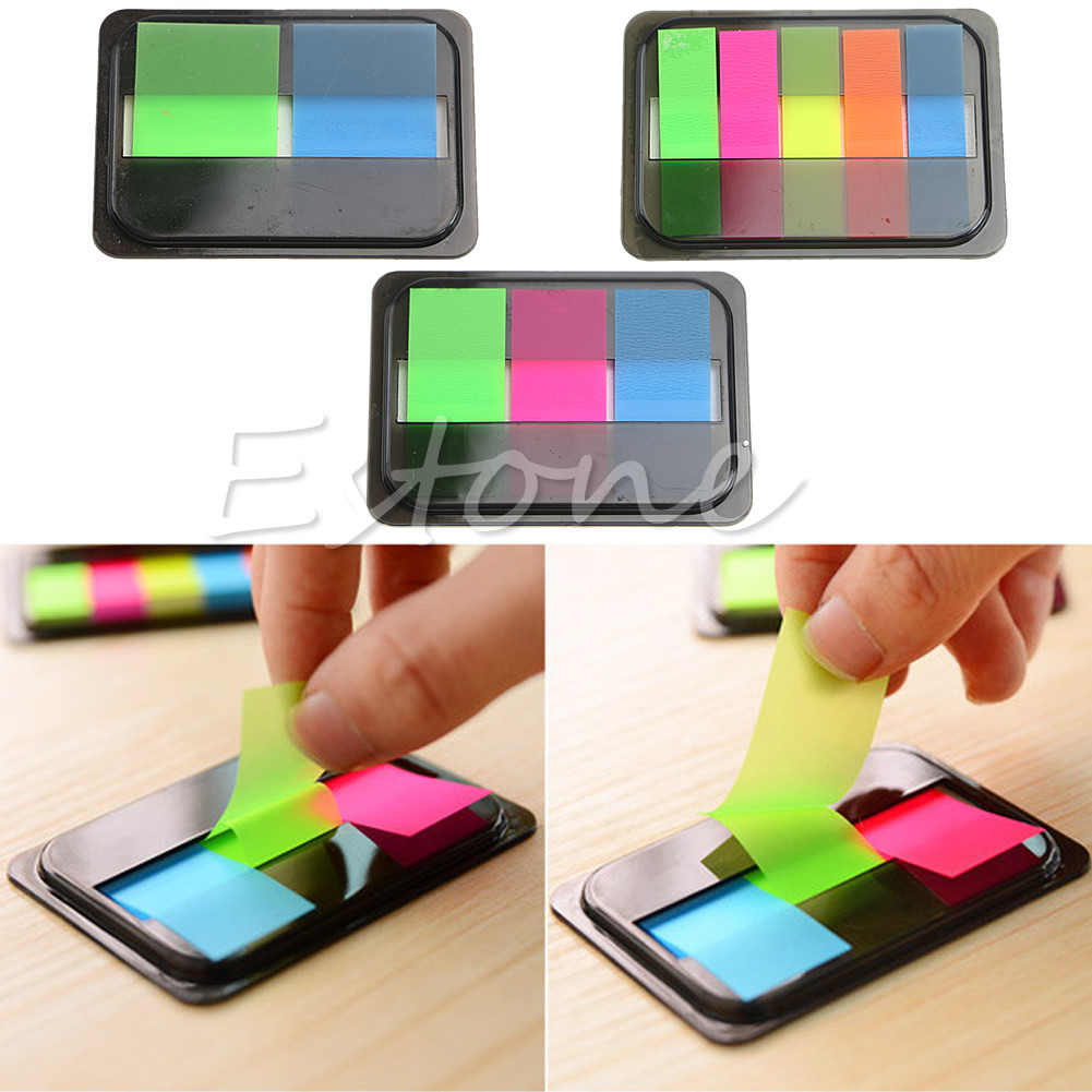 Fluorescen Sticker Post It Bookmark Marker Memo Flags Index Pad Tab Sticky Notes paper holder W15