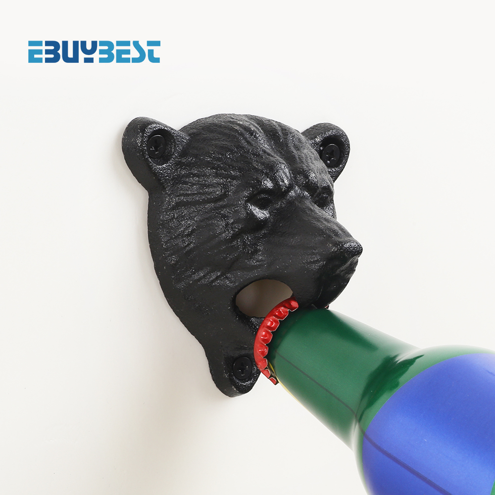 Bottle Opener Cast Iron Wall Bottle Opener Bear Head Wall Mounted Bottle Bar Glass Bottle Cap Beer Opener Kitchen Tools