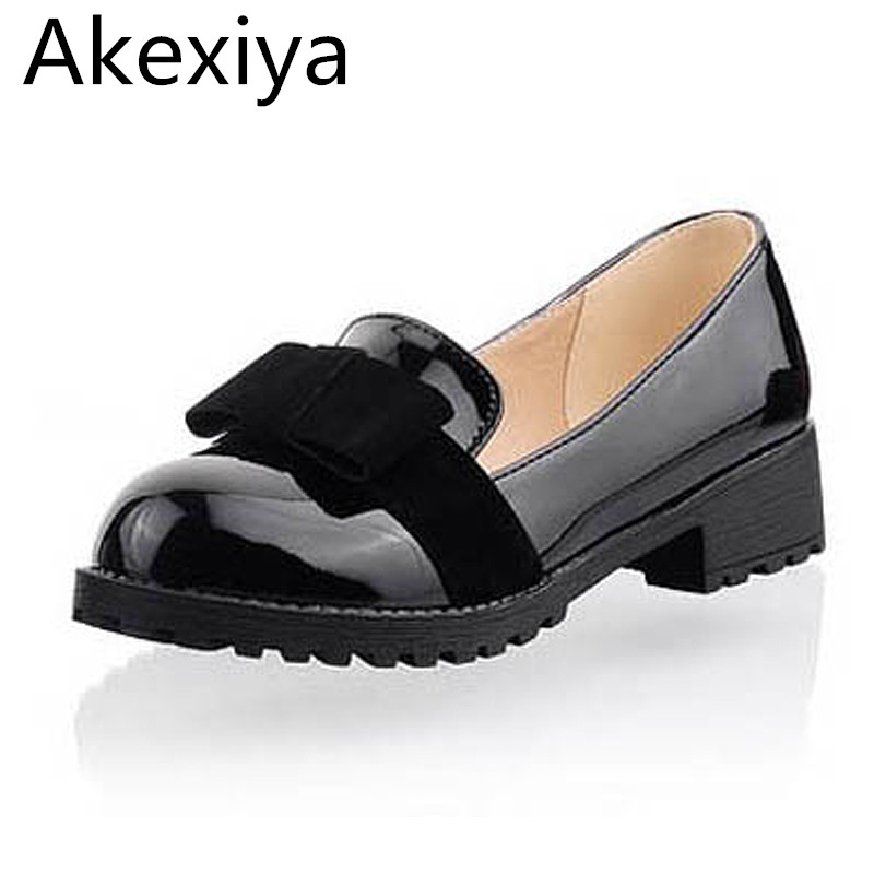 Akexiya New Round Toe Slip-on Women Loafers Fashion Bow Patent Leather Women Flat Shoes Ladies Casual Flats Big Size 34-43 beyarne hot sale new fashion spring women flats shoes ladies bow pointed toe slip on flat women s shoes free shipping size34 40