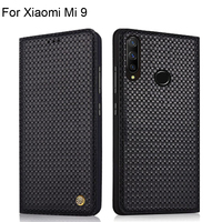 Case For Xiaomi Mi 9 Luxury Genuine Leather Woven Pattern Cases For Xiaomi Mi 9 Full Back Cover protectiveFor Xiaomi Mi9