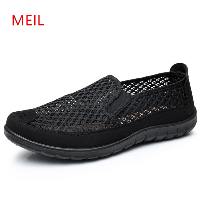Mens Loafers 2018 Summer Slip On Shoes Men Casual Breathable Mesh for Espadrilles Soft Male Father