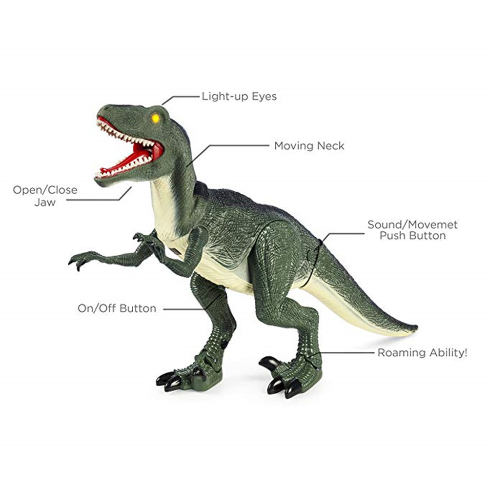 Walking Remote Control Dinosaur Toy Model Light-Up Sound Action Figure Gift