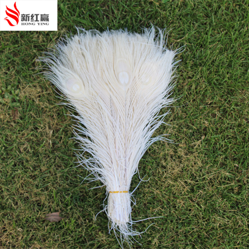 50PCS Wholesale 10-12 Polegadas Married Beautiful White Peacock Feathers Reception Center Party Feather Decoration