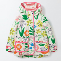 Autumn Winter Jackets For Girls Hooded Floral Rainbow Windbreaker Coats Clothing For Toddler Baby Boys Girls Trench Outerwear