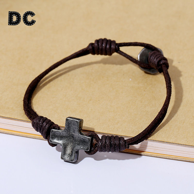 Dc Vintage 2 Layers Brown Rope Leather Cord Twine Bracelet With Alloy Cross Charms Easy Hook For Men Simple Jewelry In Charm Bracelets From