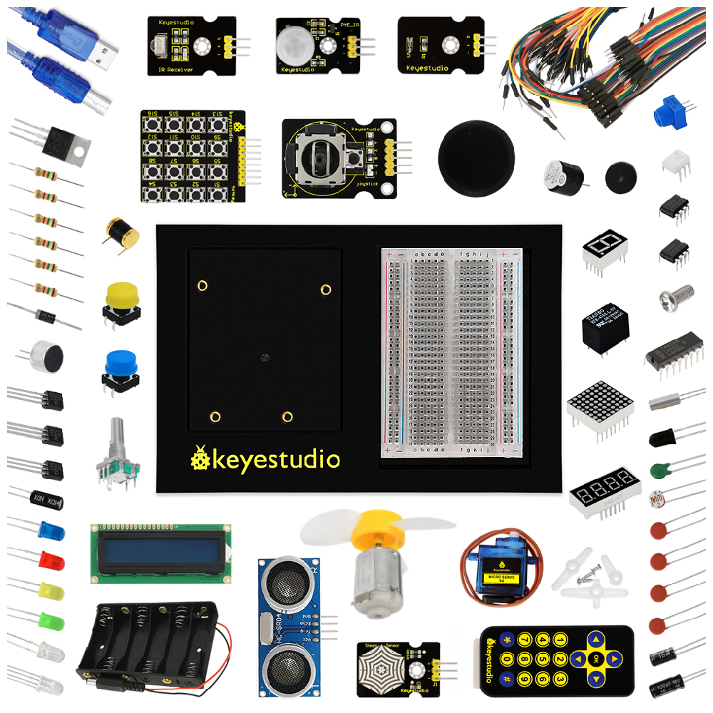 no Uno Board Keyestudio Updated Maker Starter Kit/ Learning Kit For Arduino Education Starter /with 1602 Lcd+servo+leds+pdf