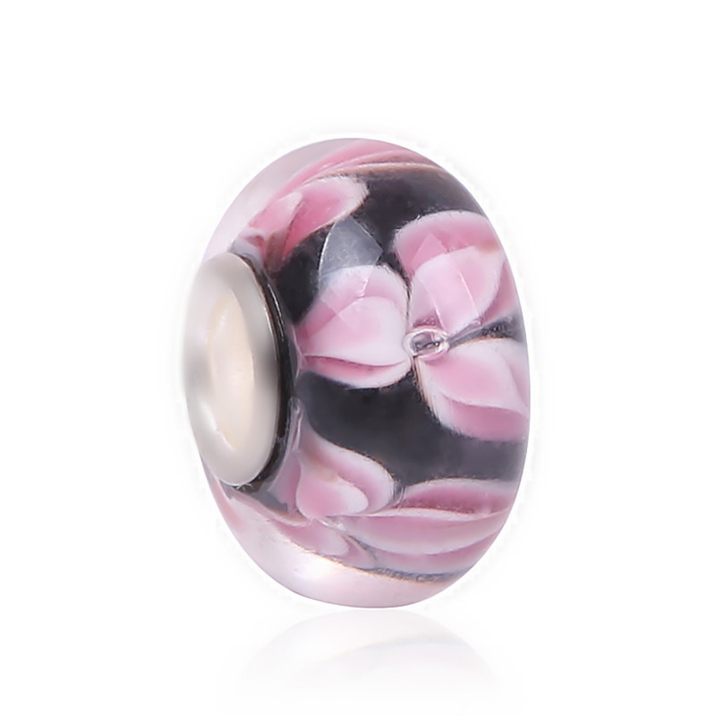 Couqcy High Quality Silver Color B Cherry Blossom Munaro Glass Beads Fit Original Pandora Charm Bracelet European Jewelry