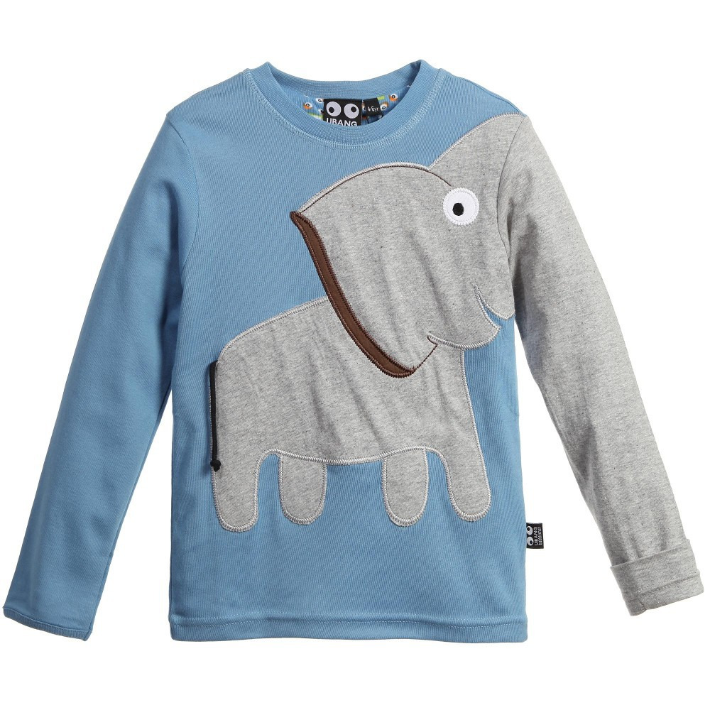 Kids boys long sleeve tops color block animal elephant for Long sweaters and shirts