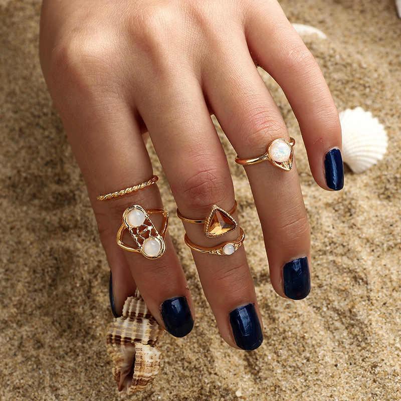 Vintage Gold Silver Ankh Cross Key Life Om Ohm Aum Crown Crystal Rhinestone Flower Leaf Rings Set for Women Bijoux Female Gifts