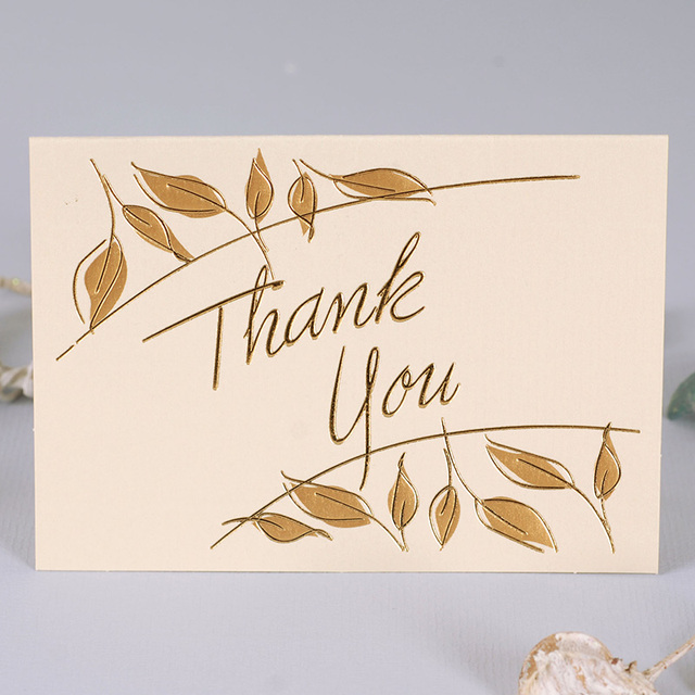 Multi Usemini Size 12set Gold Leaf Design Thank You Card Leave Message Cards Valentine Christmas