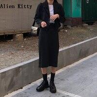 Alien Kitty Women Blazer 2 Pieces Set Office Lady Fashion Coat Pencil Skirt With Belt Work Elegant Femme Classy Formal Clothes