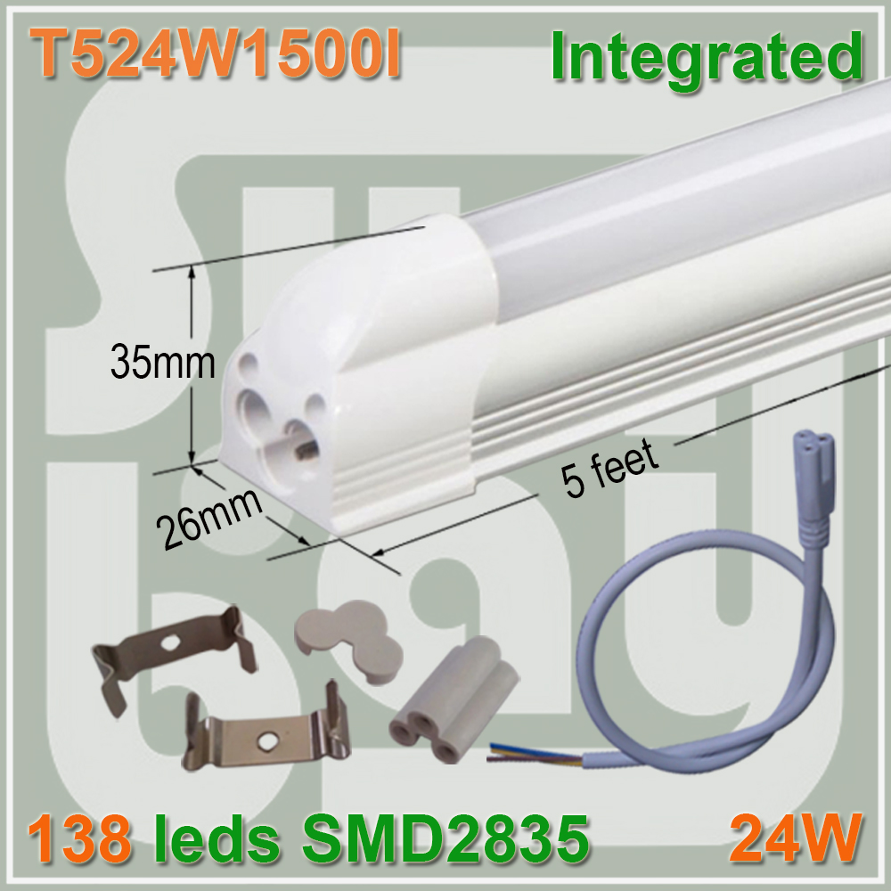 4pcs lot T5 integrated font b tube b font 5ft 1500mm milky clear cover available 24W