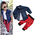 2017 Children's clothing set Jacket Coat + t shirt + pants 3pcs/set baby boy's suit set Kids long sleeve denim trousers jeans